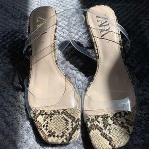 Brand New Snake Skin Clear Heels